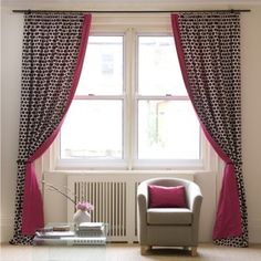 Subtle pattern curtain with a contrasting color along edge and back