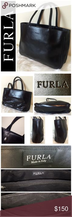 """Furla Designer Leather Handbag Furla Designer Leather Handbag, Exquisite Genuine Leather Handbag in Classic Black with Silver Hardware and Optional 17"""" Drop Crossbody Strap,  Approximate size is 12"""" x 9"""" x 4"""" with a Handle drop of 5 1/2"""", Slight repairable scratch on handle as indicated in picture, Interior Side Zip pocket as well as Zip Center Diviaion Pocket,  Made in Italy, Used in Good Condition!  Matching Wallet Also Available! Furla Bags"""