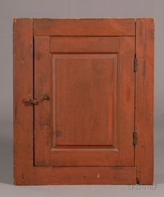 Red-painted Pine corner hanging Cupboard, New England, ea