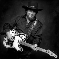 Waylon Jennings Guitar in Black and White