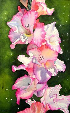 gladiolus watercolor tattoo.  My birth month flower