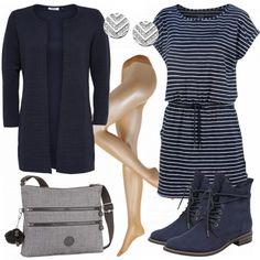 Freizeitoutfit aus Kleid, Strickjacke von ONLY und Kippling Tasche. #stiefeletten #strumpfhose #ohrringe