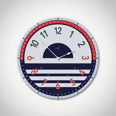 THE MARINA: 14in Large Modern Wall Clock in Navy Blue, Red & Gray. Nautical Decor. Modern Clock. Custom. Nursery Decor. Housewarming Gift