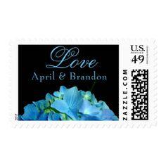 #wedding #thankyoucards - #Blue Hydrangea -love -monogrammed Postage