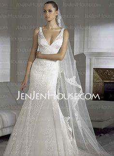 V Neck Ball Gown Wedding Dress