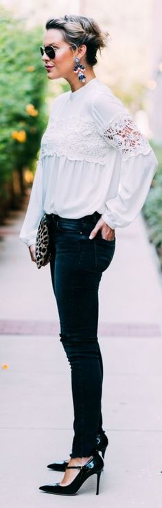 White Romantic Blouse Dark Denim Jeans Black Chic Pumps Fall Inspo by What Courtney Wore
