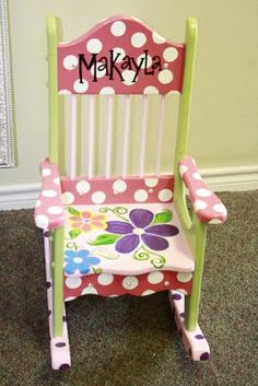 Sparkles painted furniture and decor расписная мебель, мебел Painting Kids Furniture, Diy Kids Furniture, Funky Painted Furniture, Painting For Kids, Furniture Makeover, Painted Kids Chairs, Painted Rocking Chairs, Painted Childs Chair, Kid Table