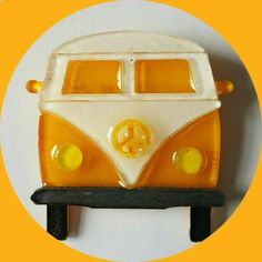 Hippie Camper Van Brooch Yellow, Vintage Inspired, Novelty brooch, Rockabilly…