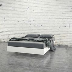 Queen size Modern Floating Style White Platform Bed Frame