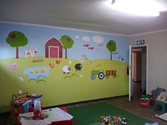 Wall mural painted and vinyl
