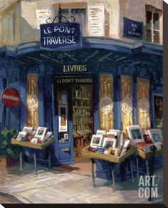 Bookworm Bonanza, Paris Stretched Canvas Print by George Botich at Art.com