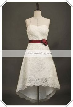 Boning lace hi low knee length sash wedding by Rosaryweddingdress, $228.00