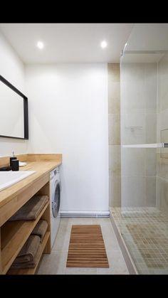 Réalisation Gares conception Salle de bain style scandinave Machine à laver encastrée Devis gratuit www.gares-conception.com