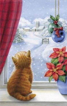 christmas images Kitten Christmas With Pointsettia Christmas Scenes, Noel Christmas, Vintage Christmas Cards, Christmas Pictures, Winter Christmas, Xmas, Christmas Ornaments, Vintage Cards, Cat Christmas Cards
