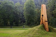 Giant Clothespin structure by Turkish Mehmet Ali Uysal appears in Park Chaudfountaine in Belgium