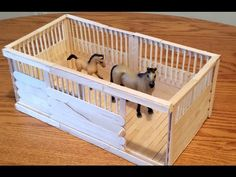 DIY Schleich / Breyer Stable with Sliding Door and Wood Plank Flooring. It is made entirely of popsicle / craft sticks. This stall is based off of my stall dividers for a box barn. It's easy to turn the stall dividers into a full stall. I hope you like it. How, Make, Ring,