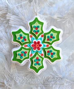 Handcrafted Polymer Clay Holly Snowflake Ornament