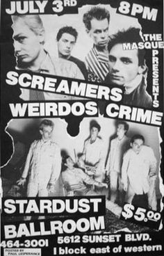 The Screamers, The Weirdos, Crime @ The Masque, Los Angeles, July 3rd, 1977