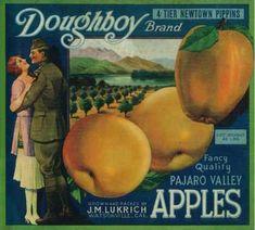 size: Art Print: Doughboy Apple Crate Label - Watsonville, CA by Lantern Press : Vintage Food Labels, Vintage Recipes, Vintage Advertisements, Vintage Ads, Vintage Ephemera, Apple Crates, Fruit Crates, Classic Branding, Vegetable Crates