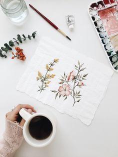 Delicate Botanical floral painting | pressed flower watercolor illustration | original artwork by painter & artist Shealeen Louise