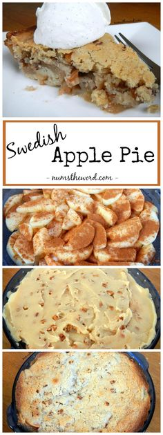 Swedish Apple Pie - If you're looking for a new twist on a classic, try this crust-less Swedish Apple Pie. apple filling topped with an almond pecan sugar cookie. (Bake Apples With Crust) Köstliche Desserts, Delicious Desserts, Dessert Recipes, Yummy Food, Fruit Recipes, Pie Dessert, Eat Dessert First, Swedish Apple Pie, Swedish Apple Cake Recipe