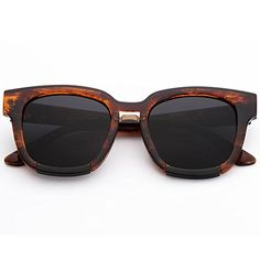 Menton Ezil Retro Wayfarer Square Brown Tortoise Frame Plastic Frame AntiGlare Dark Black Lens Sunglasses Shades *** Continue to the product at the image link.