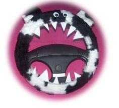 Black and white cow print faux fur fuzzy monster car steering wheel cover Fuzzy Steering Wheel Cover, Pink Car Accessories, Family Car Decals, Monster Car, White Cow, Black White, Cute Dragons, Cute Cars, Car Covers