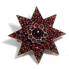 So schön! Antike GRANAT BROSCHE GRANATSTERN Stern- Böhmische Granate garnet star