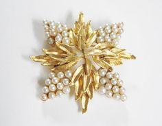 Vintage Coro Faux Pearl Snowflake Flower by GrandVintageFinery, $16.95