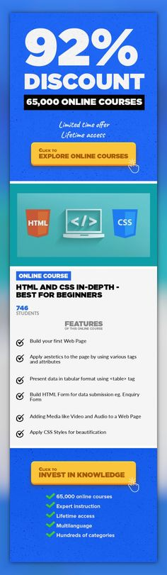 HTML and CSS In-Depth - Best for Beginners Web Development, Development #onlinecourses #onlinecollegehacks #onlineeducationmarketing  Start creating real Web Pages with HTML and CSS HTML and CSS go hand in hand for developing flexible, attractively and user friendly websites. HTML (Hyper Text Markup Language) is used to show content on the page where as CSS is used for presenting the page. HTML de...