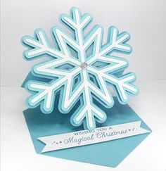 Snowflake Easel Card - Free Cutting File ( Formats include ai, dxf, gsd, mtc, pdf, studio & svg ) #Silhouette #CutFile