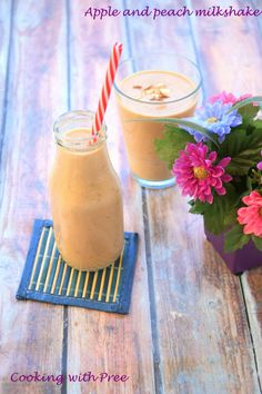 Apple and peach milkshake