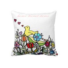 Customizable: Bird and flowers Throw Pillow