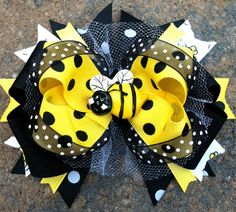 BUMBLEBEE HAIR BOW Boutique Style Over the by PolkaDotzBowtique, $10.99