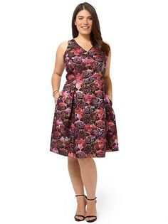 Plus Size TAYLOR DRESSES Sleeveless Rose Printed Dress