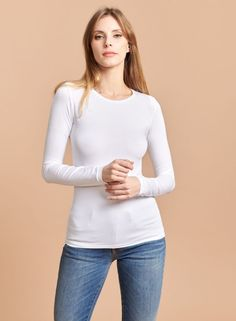 T-shirt col rond Ally - Majestic Filatures T Shirt, Deco, Blouse, Long Sleeve, Sleeves, Tops, Women, Fashion, T Shirt With Collar
