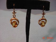 Vintage Deco Gold Filled Topaz Stone Earrings