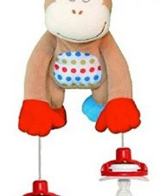 The Interactive Pacifier Toy Holder By PullyPalz Includes MoMo Monkey Toys For Girls