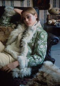 A model in an Afghan jacket, 1968. During the late 60's authentic goat-skin coats became Afghanistan's greatest fashion export, appearing within the pages of Vogue and reinterpreted by a number of Western designers.
