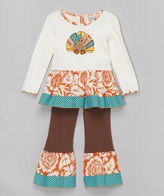 This AnnLoren White & Orange Turkey Top & Pants - Infant, Toddler & Girls by AnnLoren is perfect! #zulilyfinds