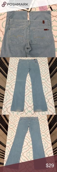 """💙💜💙7 FAM Cords! Preloved Baby Blue 29 7/8💙💜💙 💙💜💙Such a pretty color! Sky Blue! Light discoloration splatter near knee.  Fade line across back of one pant leg. Wear at heels with tiny hole on one side. Signature Squiggle on back pocket is missing a few stitches. Preloved Used Condition. And very charming! 33.5"""" Inseam. 14.5"""" flat across the back. 7.5"""" rise. 84% Cotton. 14% Polyester. 2% Lycra. Ask me any questions!💙💜💙 7 For All Mankind Jeans Straight Leg"""