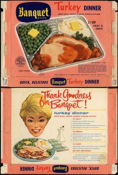 Banquet Brand TV Dinner - Turkey dinner - box - by JasonLiebig, via… Turkey Giblet Gravy, Retro Ads, Vintage Advertisements, Retro Food, Retro Recipes, Vintage Recipes, Dinner Box, Vintage Tv, Military