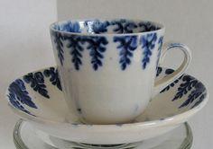 Spatterware Child's Cup & Saucer  Cut Sponge  Blue Fern, Antique 19thC English