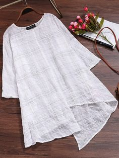 Vintage Women Long Sleeve Plaid Asymmetrical Baggy Blouse - sew what. Kurti Neck Designs, Blouse Designs, Bluse Outfit, Boys Clothes Style, Clothes Women, Sleeveless Jacket, Blouse Online, Blouse Styles, Half Sleeves
