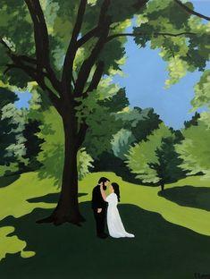 Custom Wedding Portrait by artist Elizabeth Lang Custom Art, Wedding Portraits, Evergreen, Original Artwork, Artist, Nature, Fun, Painting, Inspiration