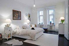 Aranżacja sypialni wystrój skandynawski w kolorach biel - projekt wnętrza #6153078, Homplex