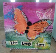 Mixed Media Butterfly Canvas - $15