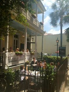 Poogan's Porch.  Supposed to be haunted by the Lady in Black. Charleston, SC