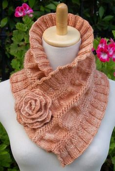 Knitting Pattern for Ruffled and Ruched Scarf - Neckwarmer with optional rose pin for fastening. Designed by PamPowersKnits