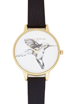 Humming Home Watch by Olivia Burton - Black, White, Gold, Print with Animals, Casual, Best